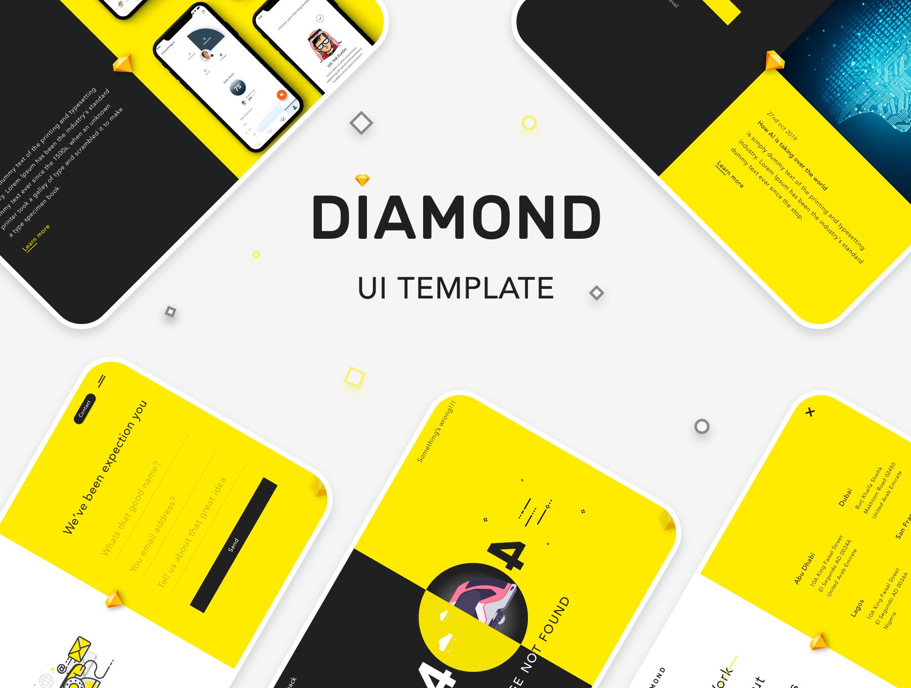 创意简洁公司网站WEB UI界面设计模板套件 Diamond UI Web Template插图(2)
