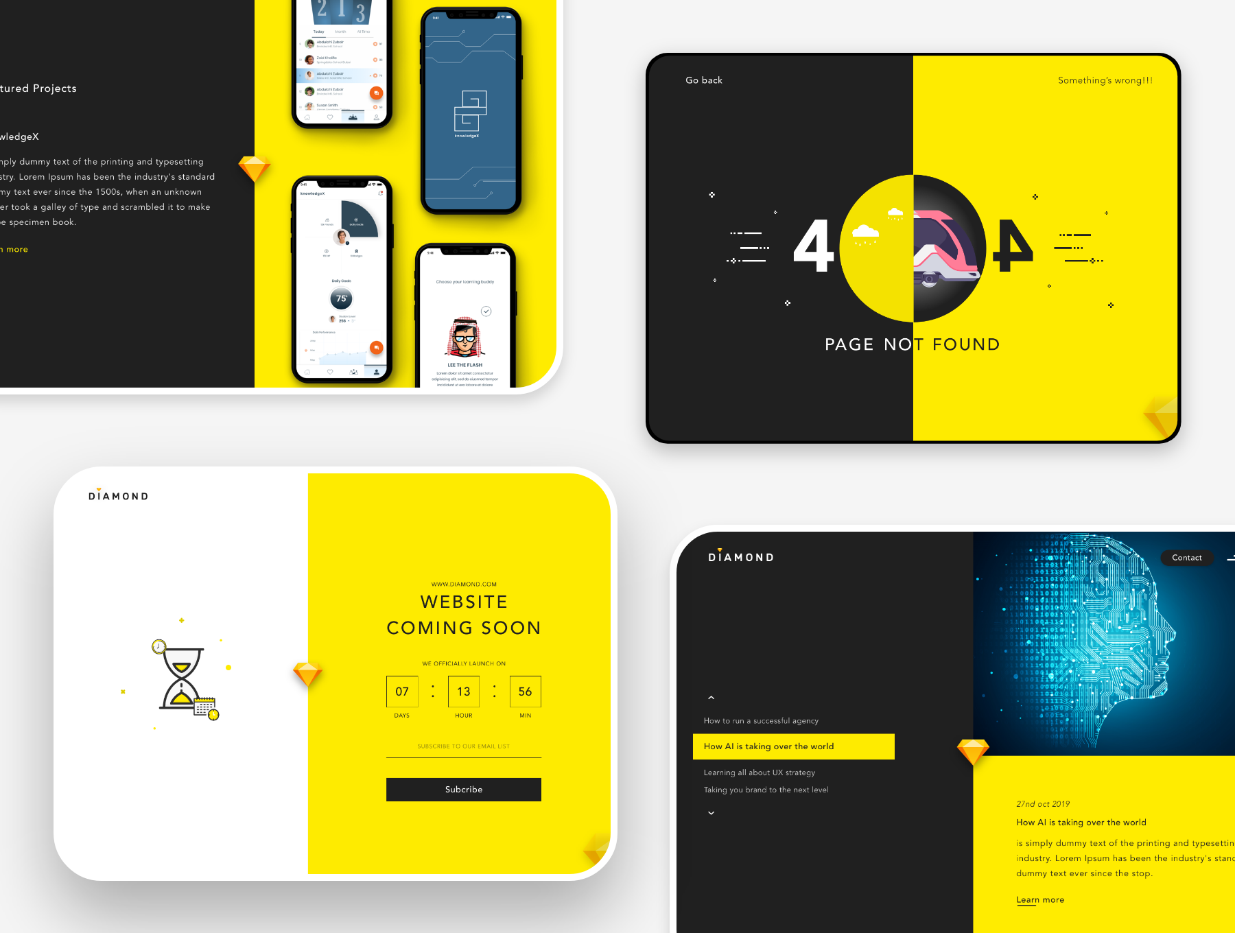 创意简洁公司网站WEB UI界面设计模板套件 Diamond UI Web Template插图(3)