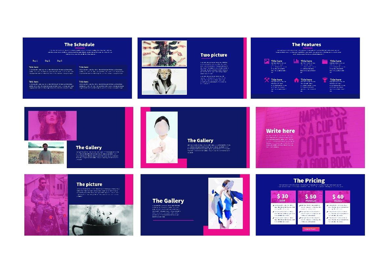 紫粉色调摄影照片艺术品作品集设计PPT幻灯片模板 Modern Minimal Powerpoint插图(2)