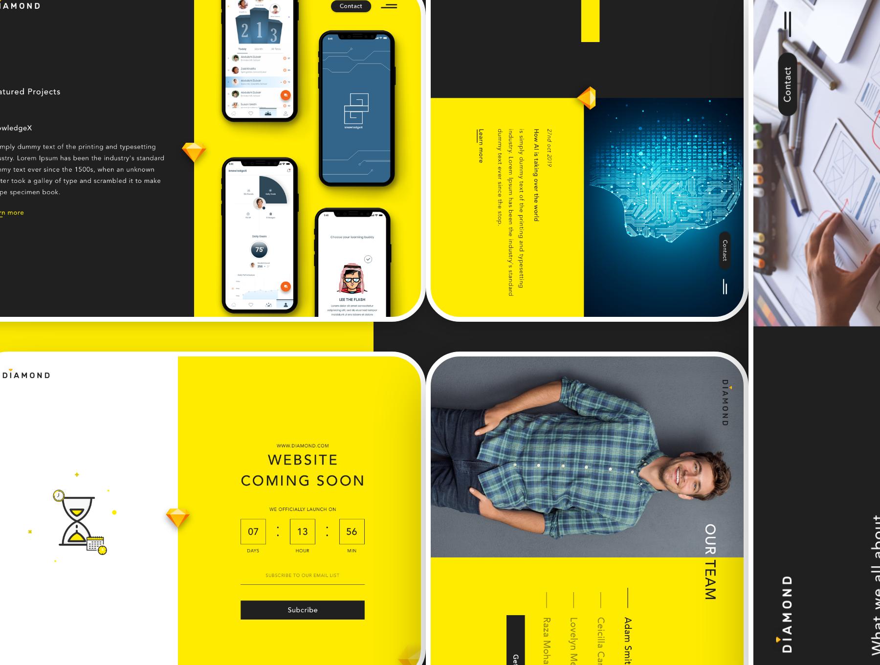 创意简洁公司网站WEB UI界面设计模板套件 Diamond UI Web Template插图(5)