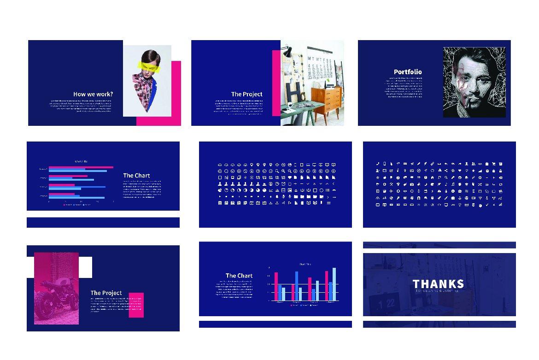 紫粉色调摄影照片艺术品作品集设计PPT幻灯片模板 Modern Minimal Powerpoint插图(5)