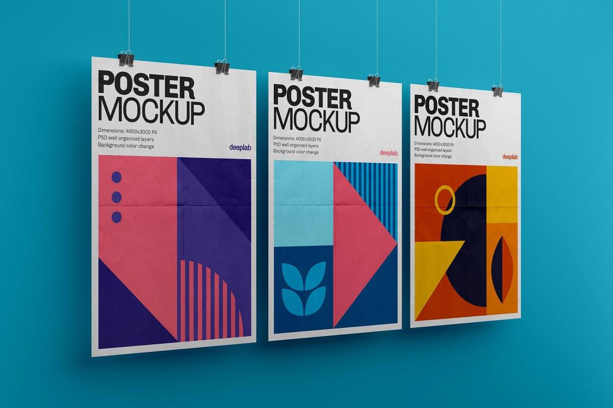 悬挂海报传单设计展示图样机模板合集 Vertical Poster Mockup Set插图(2)