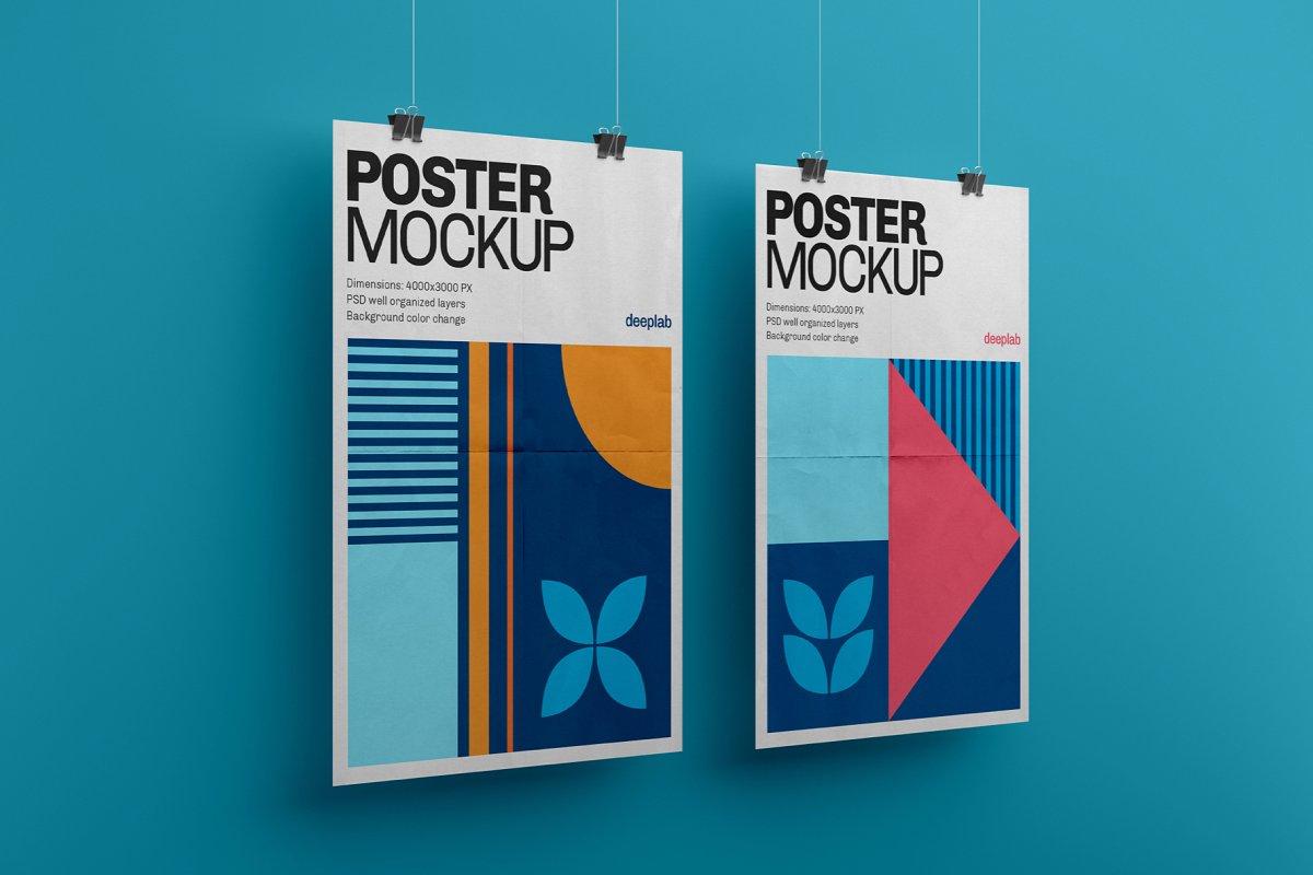 悬挂海报传单设计展示图样机模板合集 Vertical Poster Mockup Set插图(3)