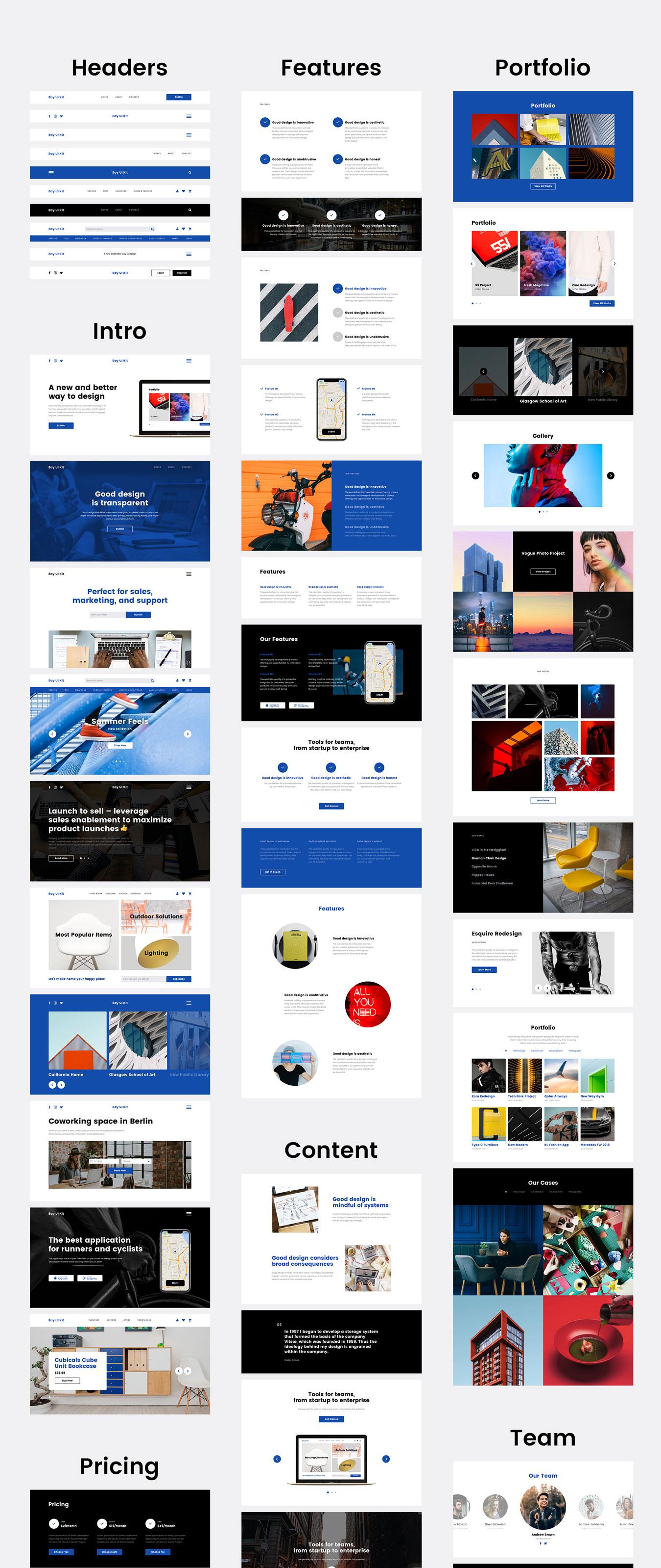 现代简约摄影设计工作室WEB网站UI界面设计模板 Bay UI Kit插图(6)