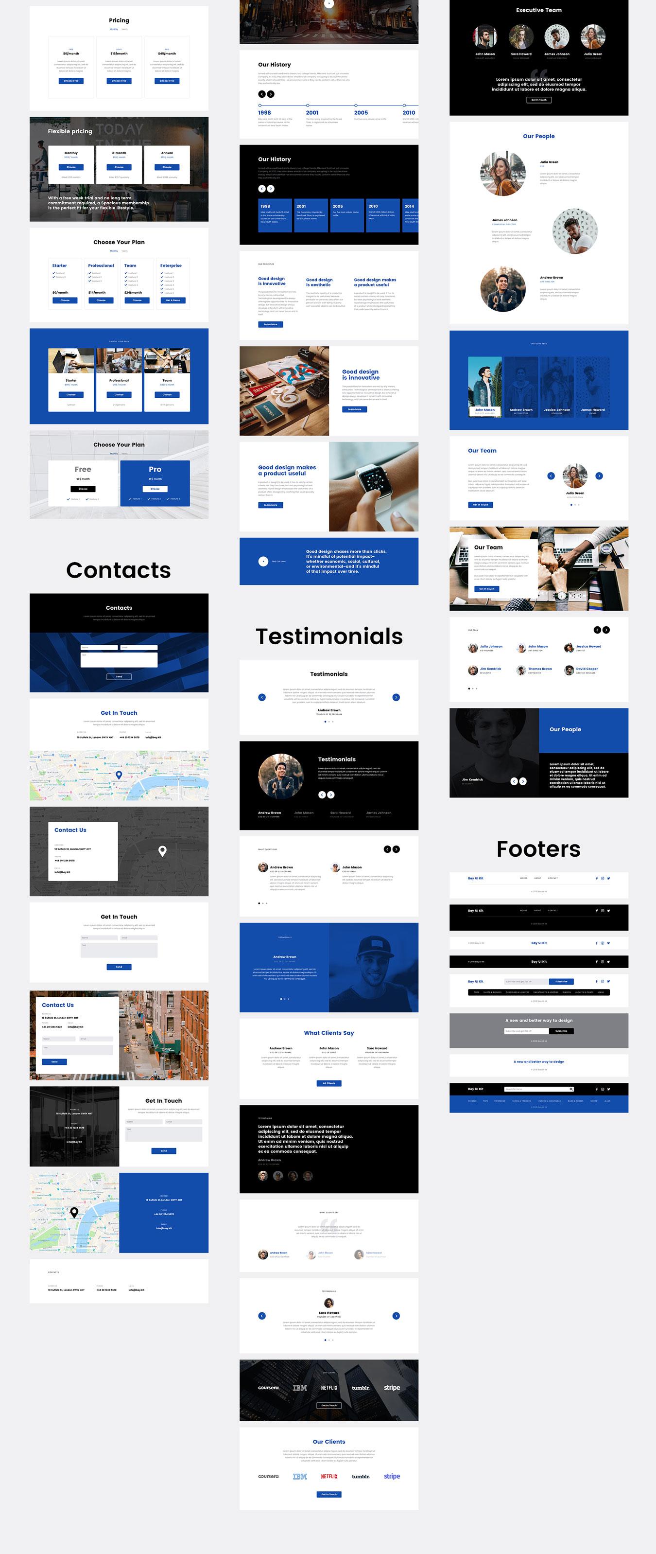 现代简约摄影设计工作室WEB网站UI界面设计模板 Bay UI Kit插图(7)