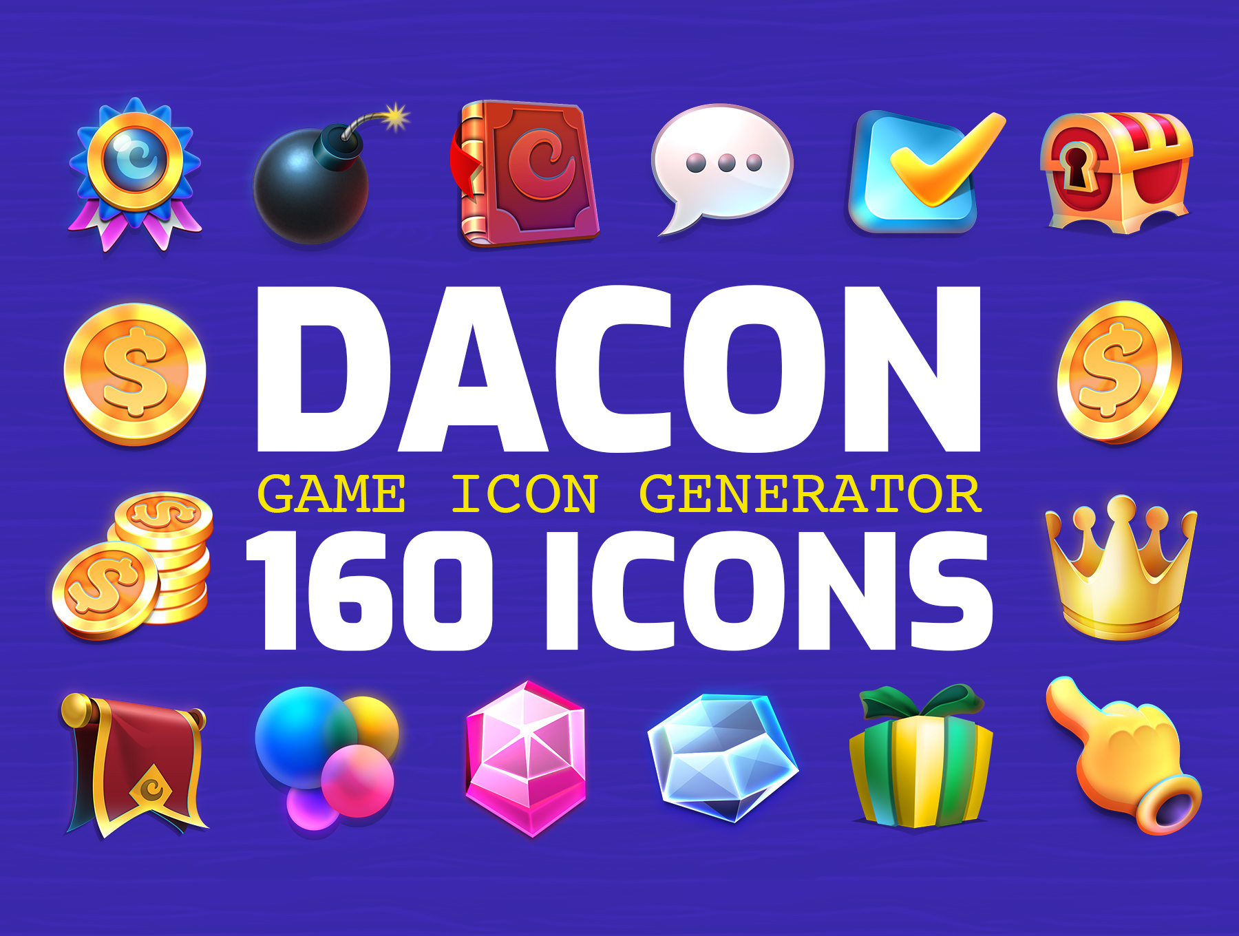 高品质多彩游戏3D图标PS设计素材 DACON – Game Icon Generator插图