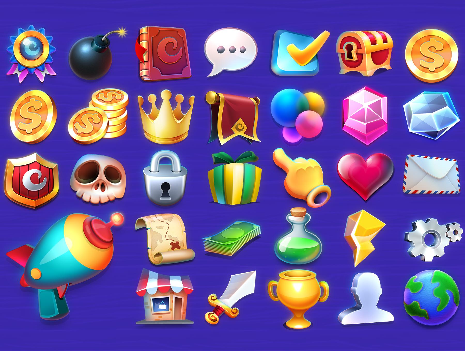 高品质多彩游戏3D图标PS设计素材 DACON – Game Icon Generator插图(1)