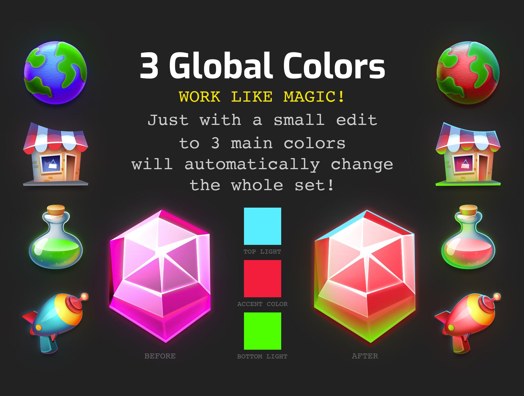 高品质多彩游戏3D图标PS设计素材 DACON – Game Icon Generator插图(3)