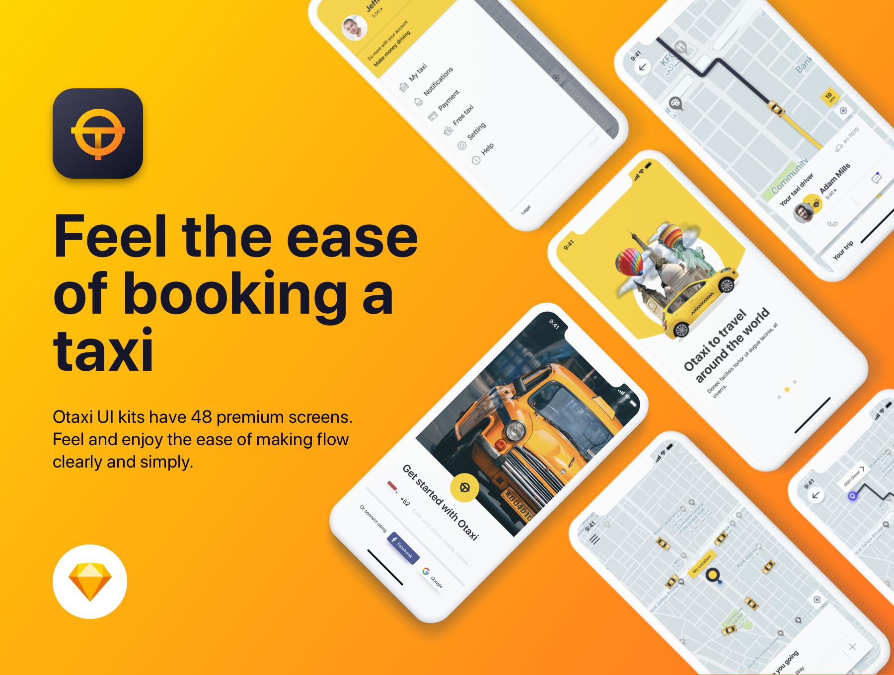 类Uber&滴滴出行叫车APP应用UI设计套件SKETCH模板 Otaxi Mobile UI Kit插图