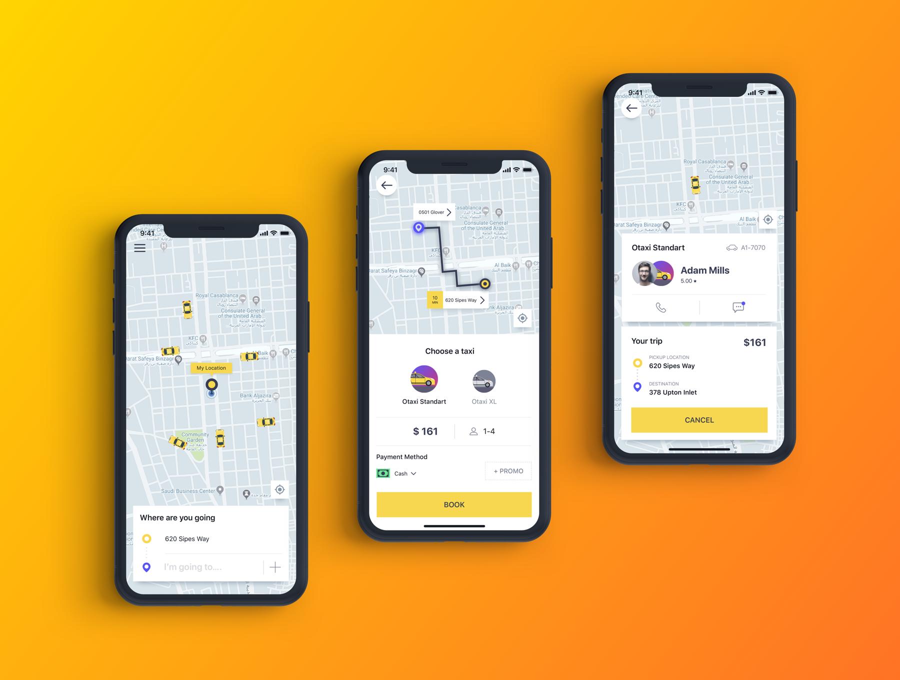 类Uber&滴滴出行叫车APP应用UI设计套件SKETCH模板 Otaxi Mobile UI Kit插图(2)