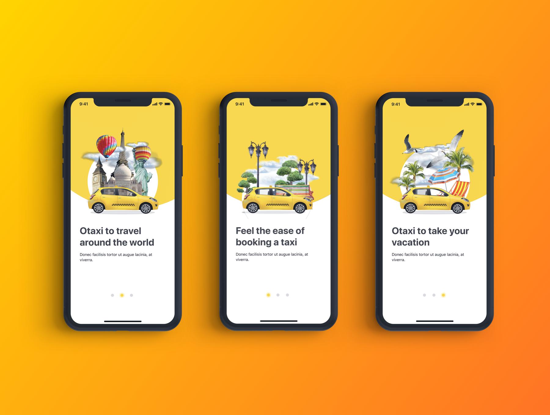 类Uber&滴滴出行叫车APP应用UI设计套件SKETCH模板 Otaxi Mobile UI Kit插图(4)