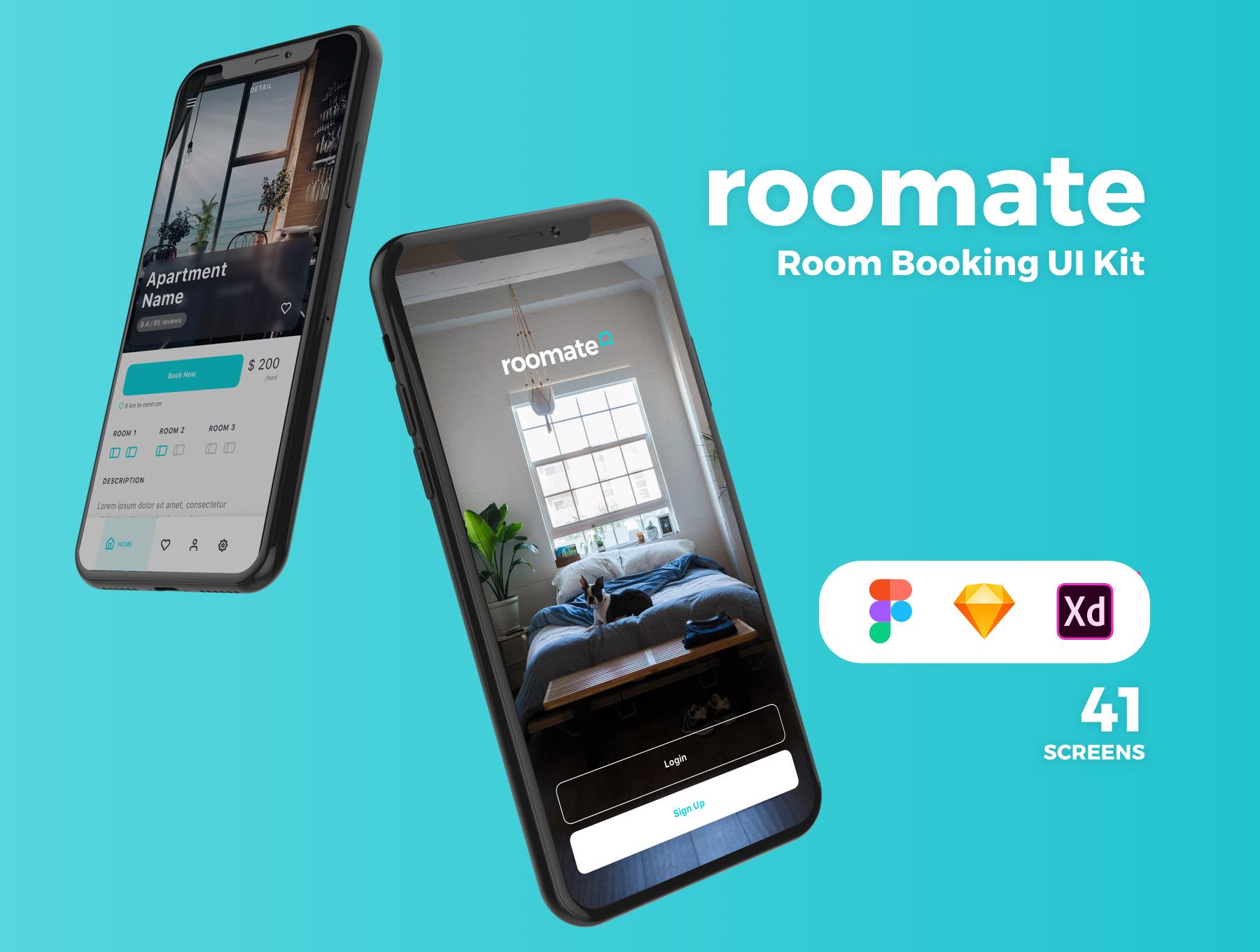 酒店预定APP应用程序UI界面设计套件 Roomate iOS UI Kit插图