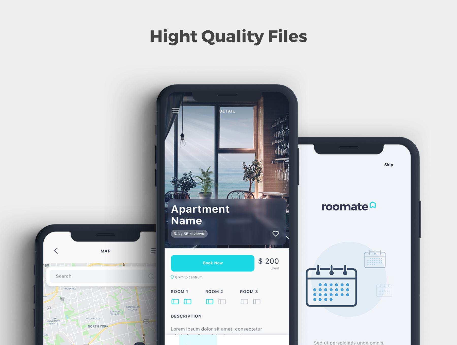 酒店预定APP应用程序UI界面设计套件 Roomate iOS UI Kit插图(1)