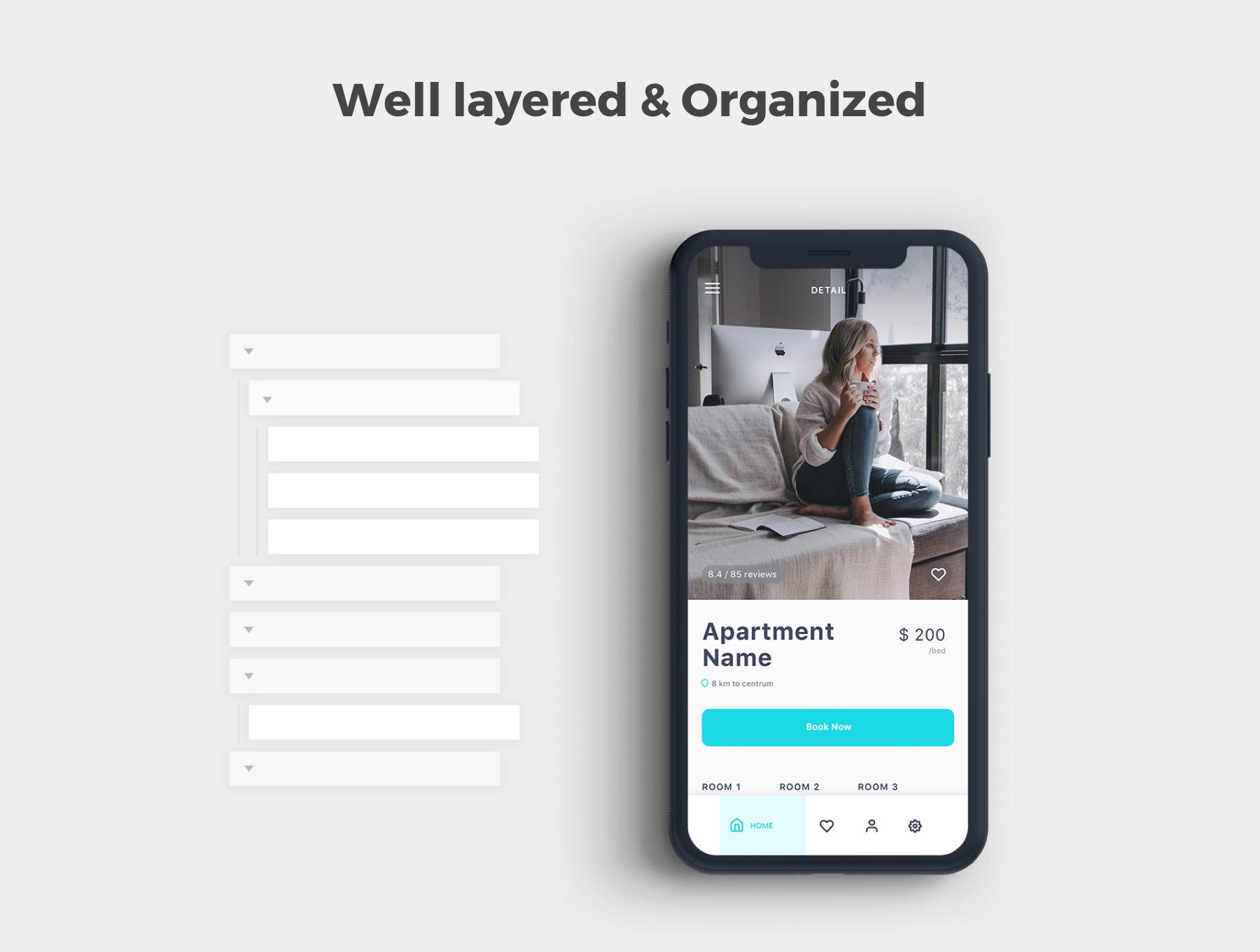 酒店预定APP应用程序UI界面设计套件 Roomate iOS UI Kit插图(2)