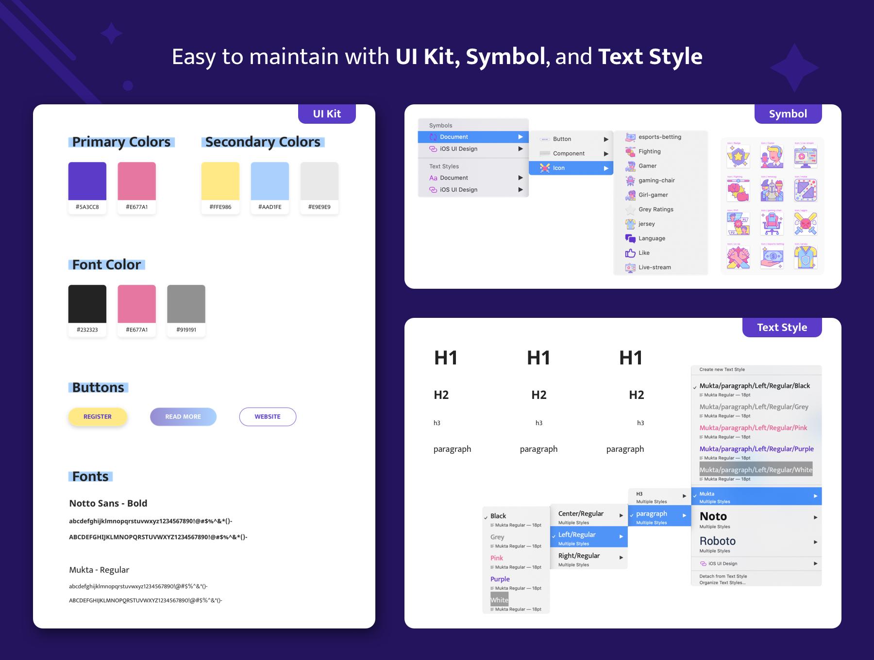 紫水晶色调游戏电竞网站WEB UI界面设计SKETCH模板 Amethyst – Esports Sketch Template插图(5)