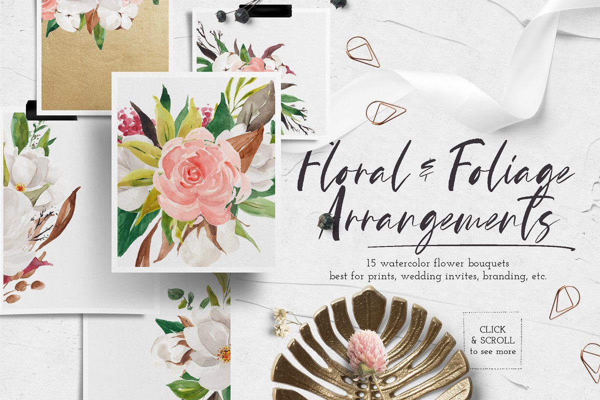 淡雅花卉&树叶水彩插画设计素材包 Floral & Foliage Illustration Pack插图(3)