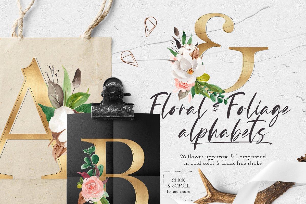淡雅花卉&树叶水彩插画设计素材包 Floral & Foliage Illustration Pack插图(7)