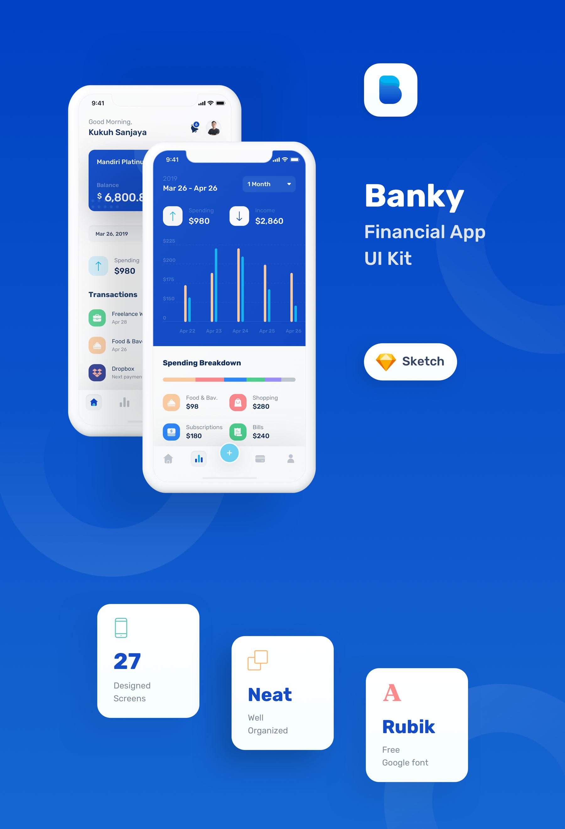 蓝色调金融银行财务管理APP应用程序UI界面设计套件 Banky – Finance App UI Kit插图(6)