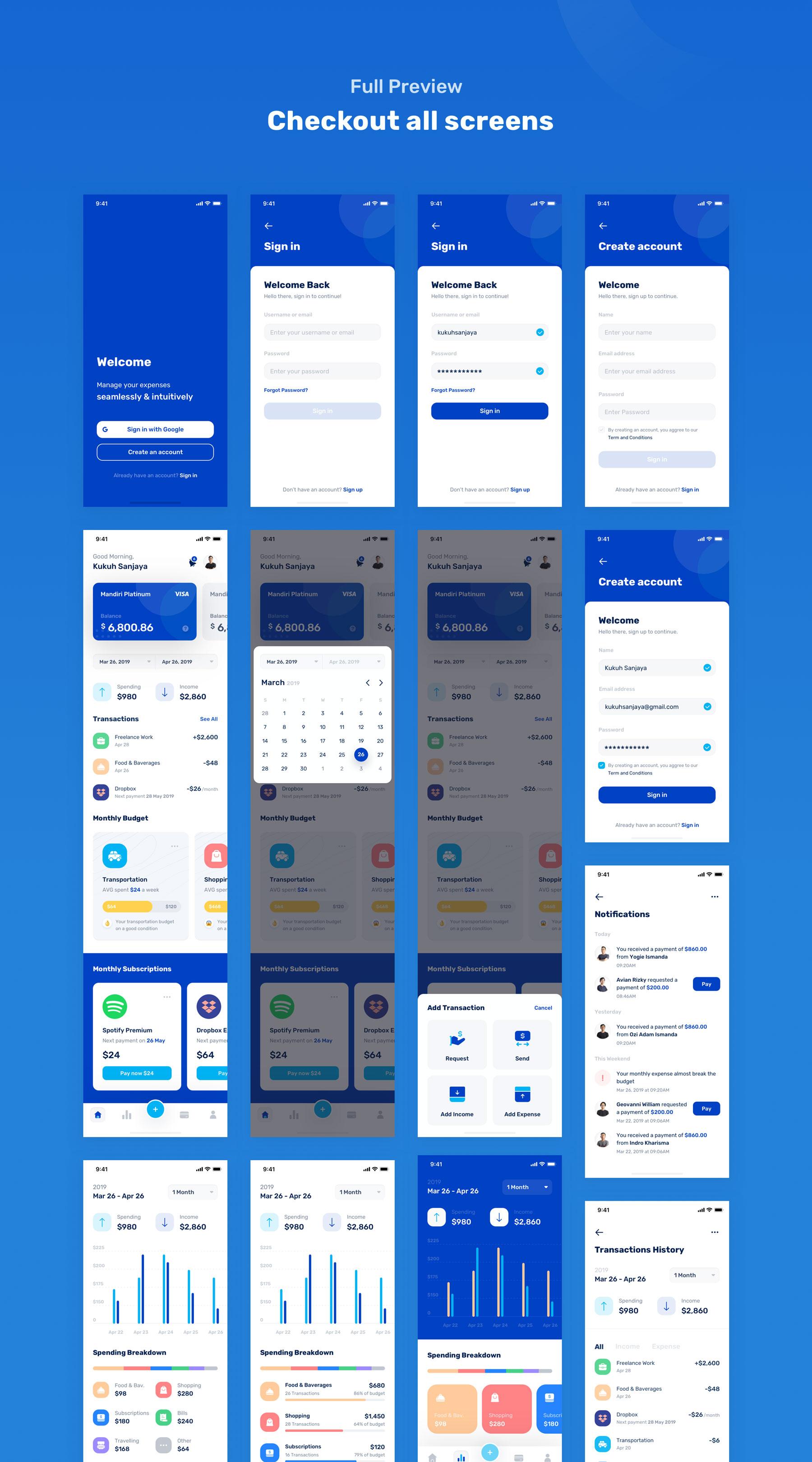 蓝色调金融银行财务管理APP应用程序UI界面设计套件 Banky – Finance App UI Kit插图(7)