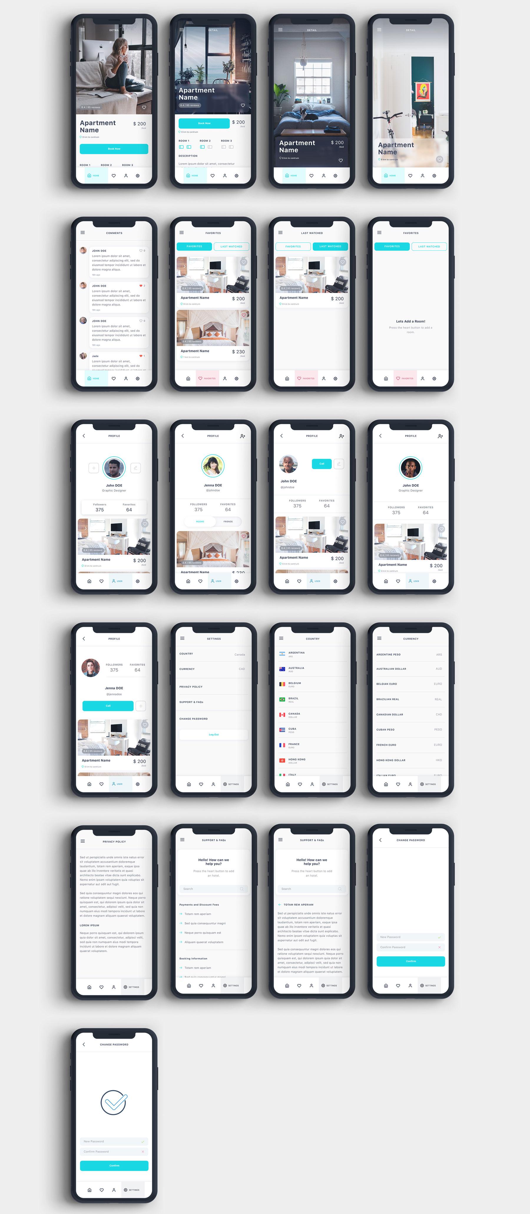 酒店预定APP应用程序UI界面设计套件 Roomate iOS UI Kit插图(11)