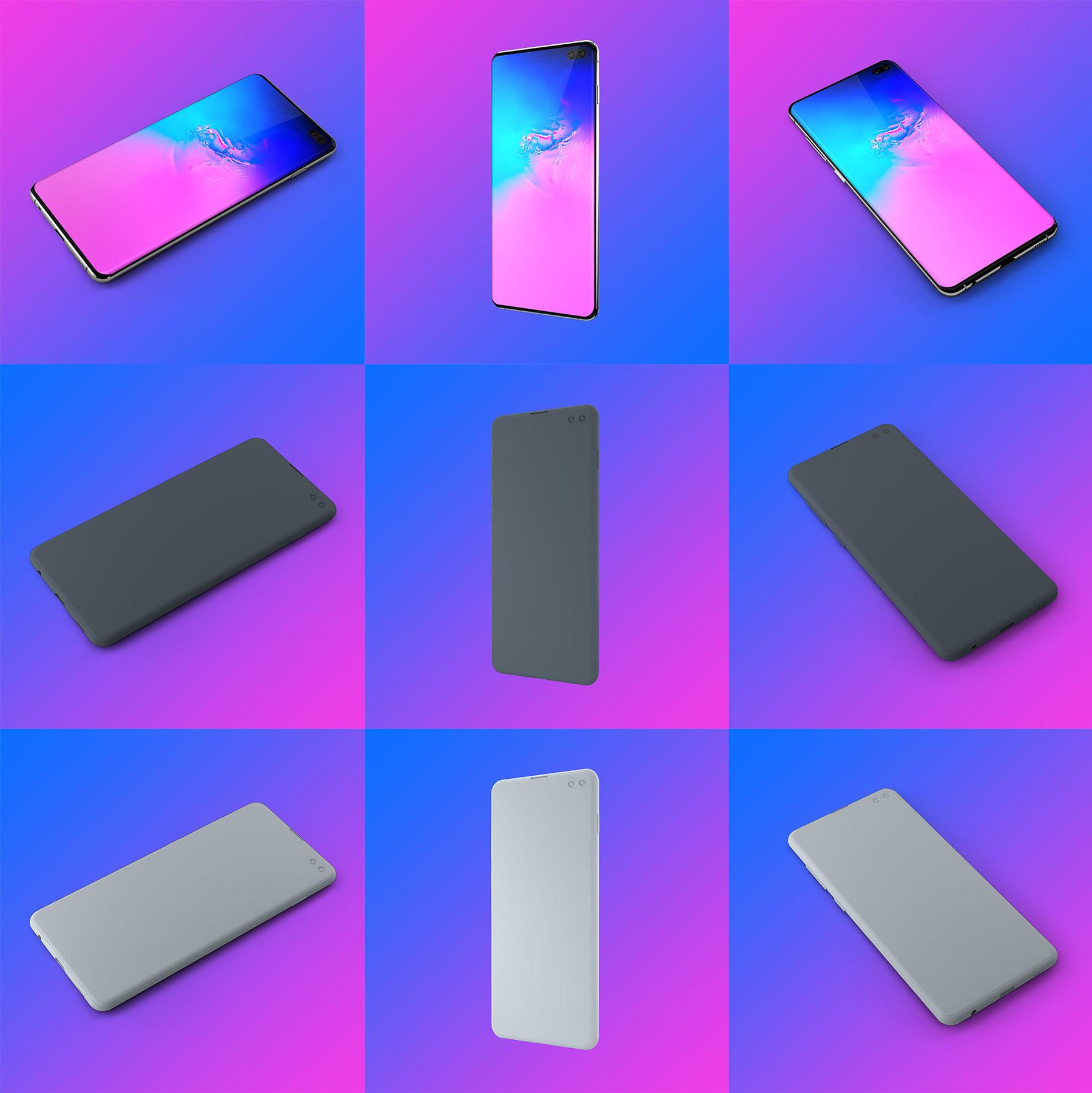 应用程序&网站设计预览三星Galaxy S10样机模板 Samsung Galaxy S10+ Design Mockup 2插图(6)
