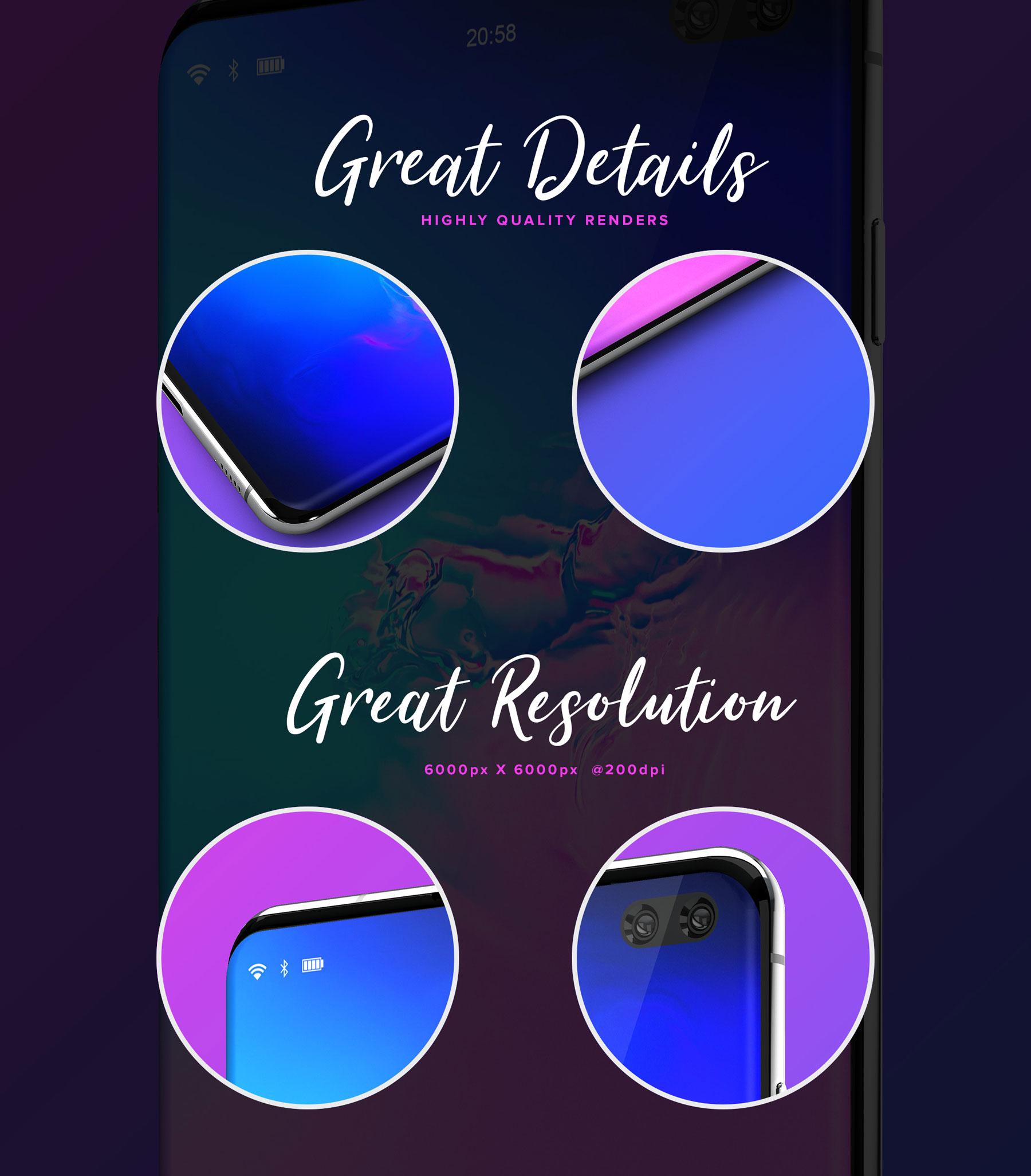 应用程序&网站设计预览三星Galaxy S10样机模板 Samsung Galaxy S10+ Design Mockup 2插图(7)