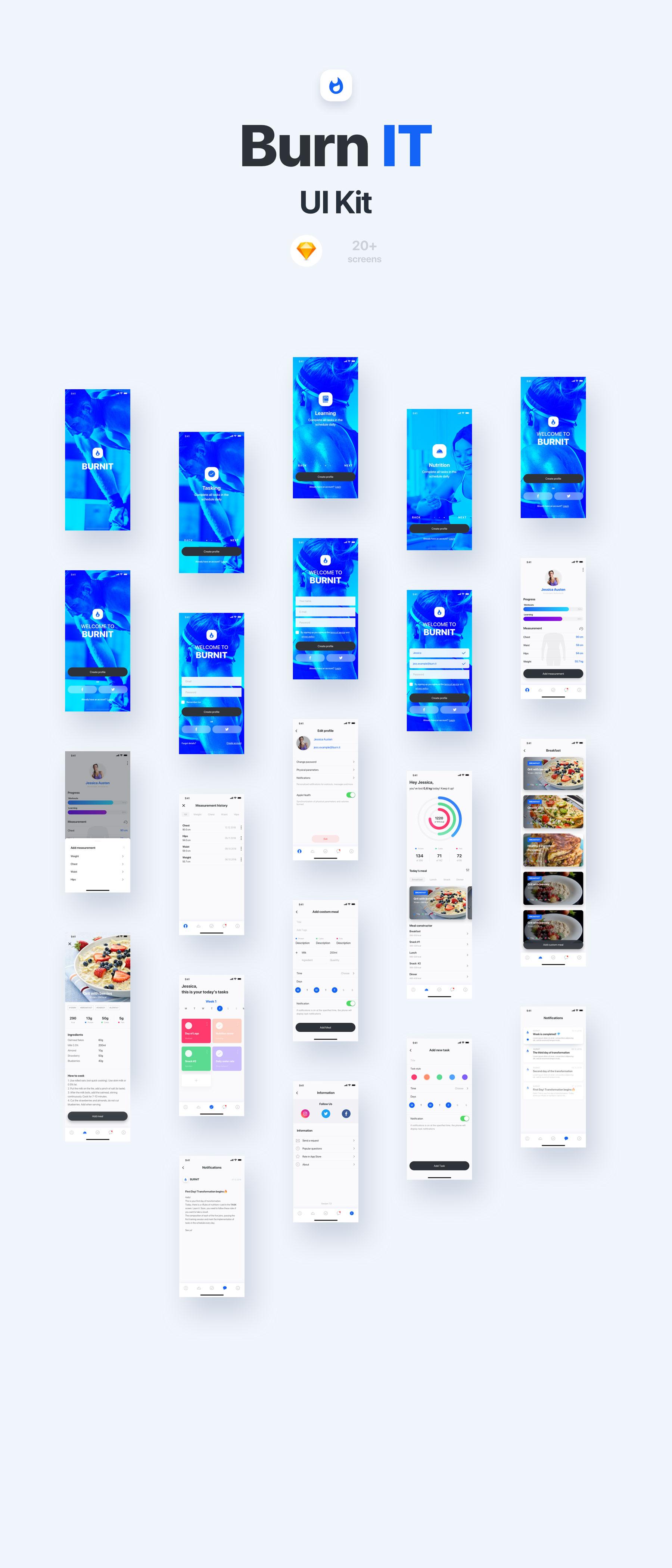 饮食健身APP应用程序UI界面设计套件 BURNIT UI Kit插图(6)