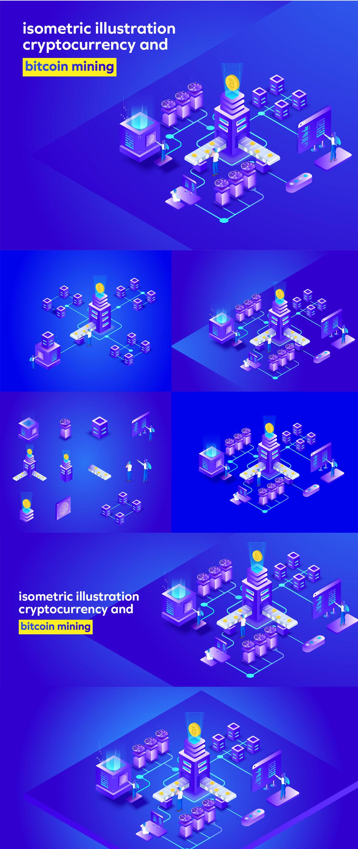 比特币/加密货币采矿等距矢量概念插画 Bitcoin Mining Isometric Illustration插图(1)