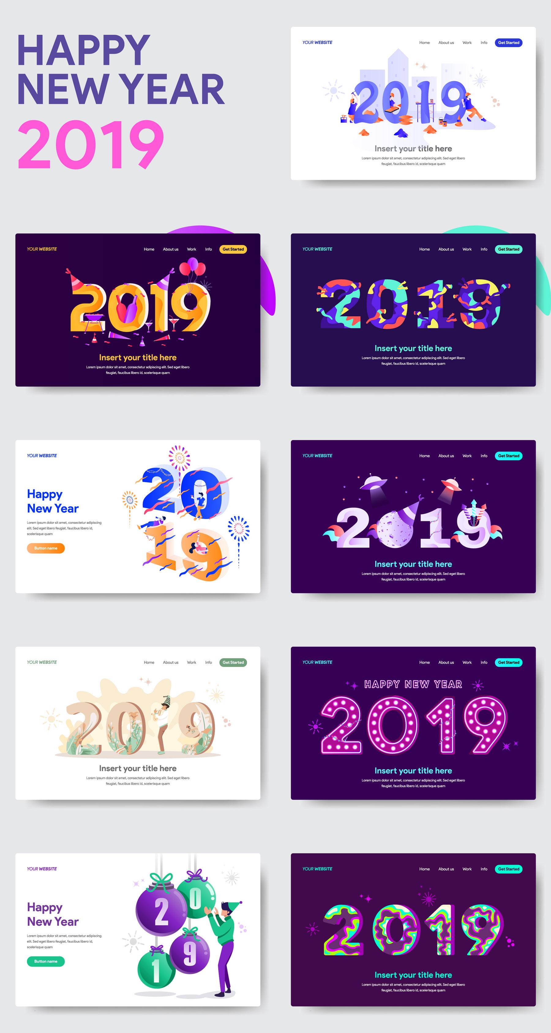 网站页面设计2019新年矢量概念插图素材 2019 New Year Illustrations插图(5)
