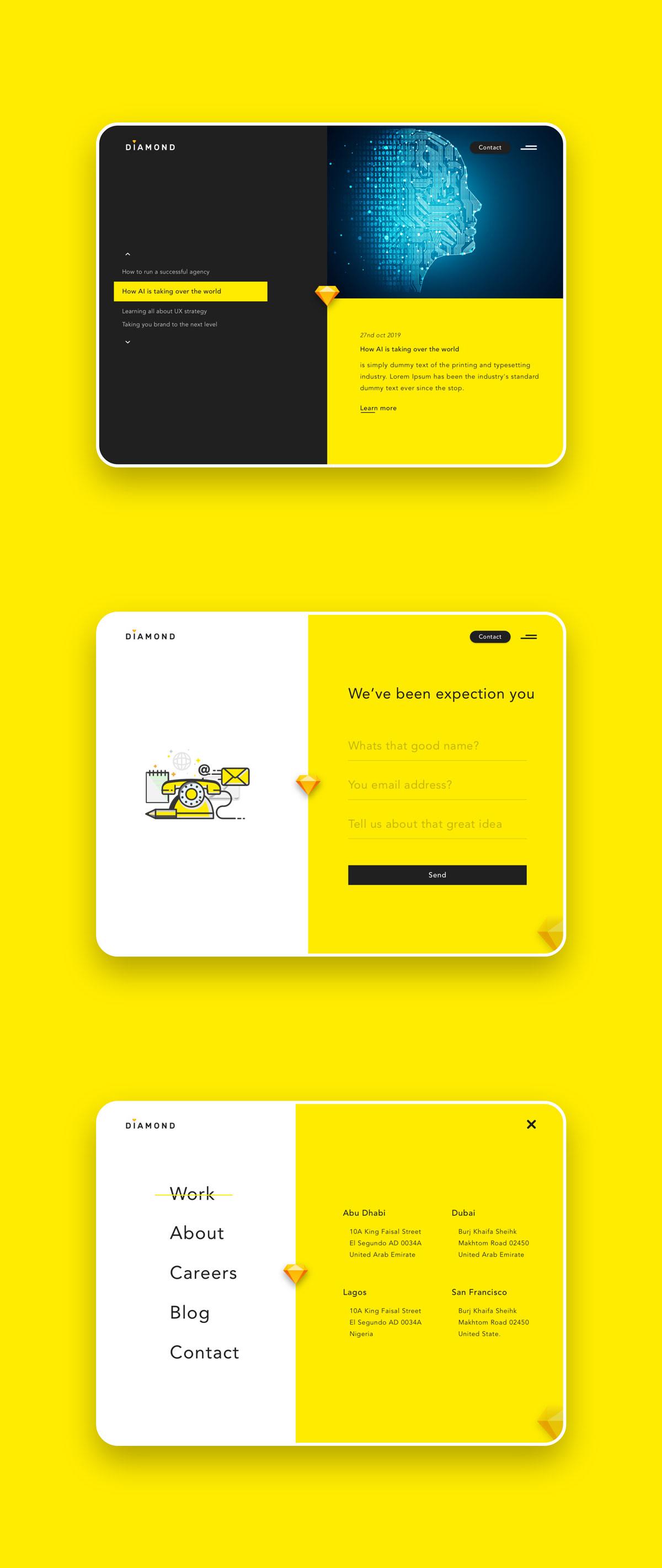 创意简洁公司网站WEB UI界面设计模板套件 Diamond UI Web Template插图(7)
