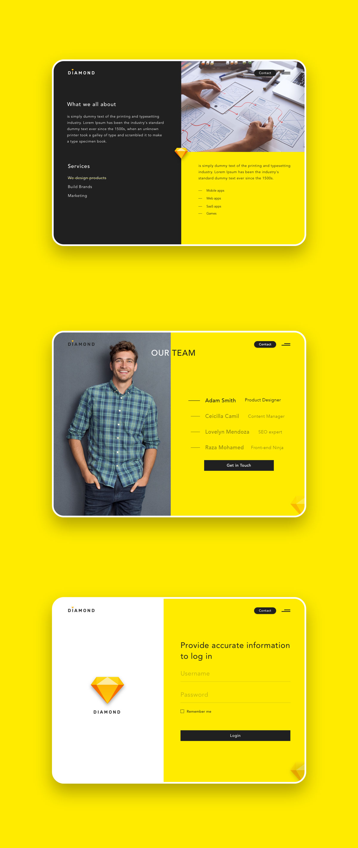 创意简洁公司网站WEB UI界面设计模板套件 Diamond UI Web Template插图(8)