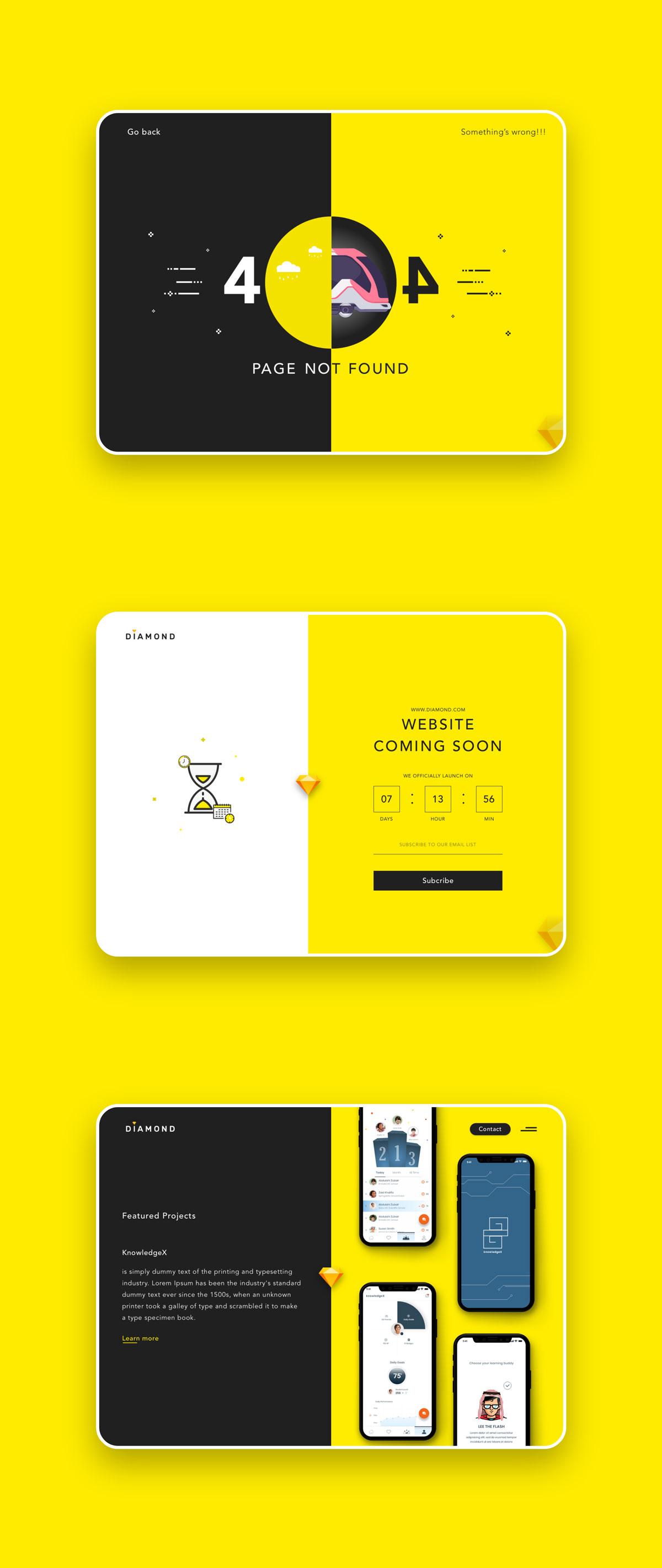 创意简洁公司网站WEB UI界面设计模板套件 Diamond UI Web Template插图(6)