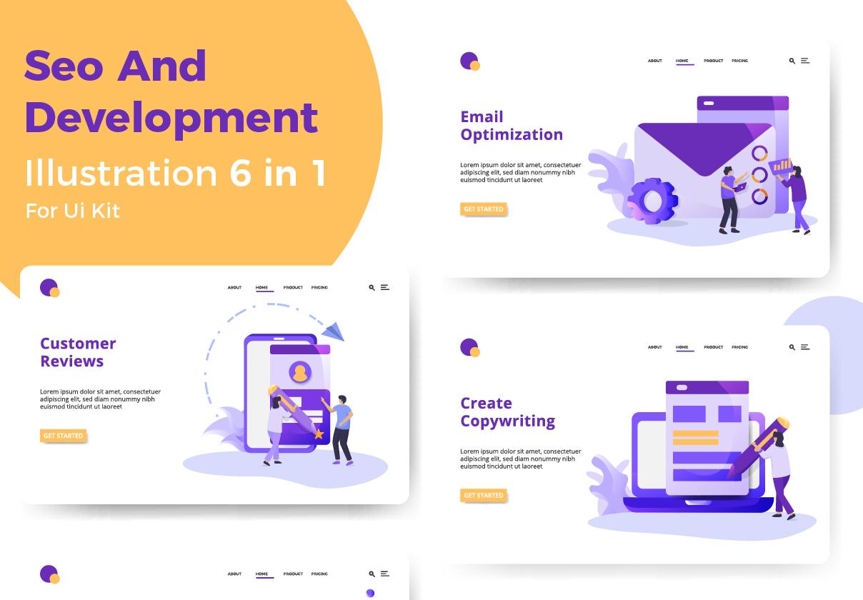SEO开发主题网站登陆页设计矢量概念插图 SEO And Development插图
