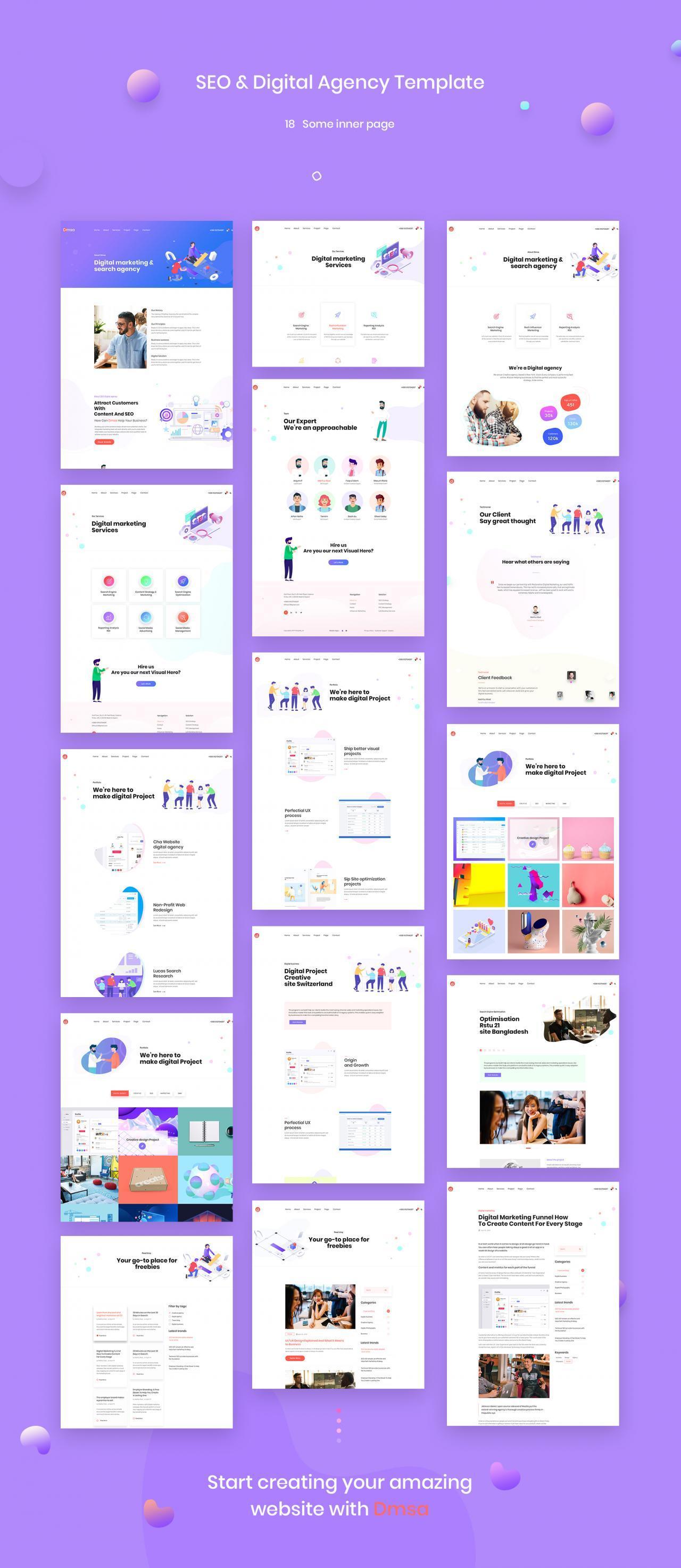 SEO优化WEB企业网站UI界面设计模板套件 Dmsa – SEO & Digital Agency Template插图(7)