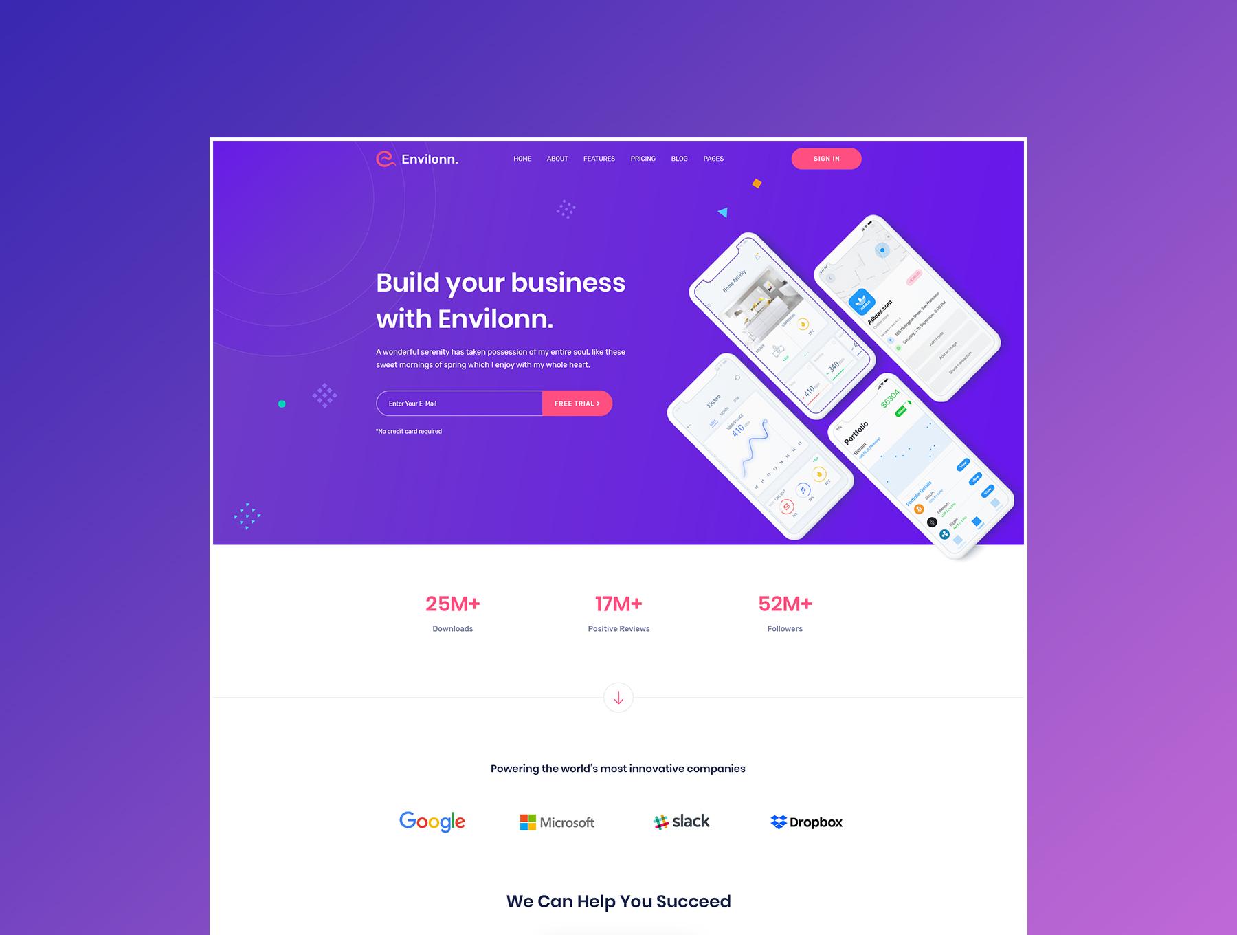 时尚新颖软件&应用程序登陆页UI界面设计模板套件 Envilonn – Saas, Software & App Landing Page插图(2)