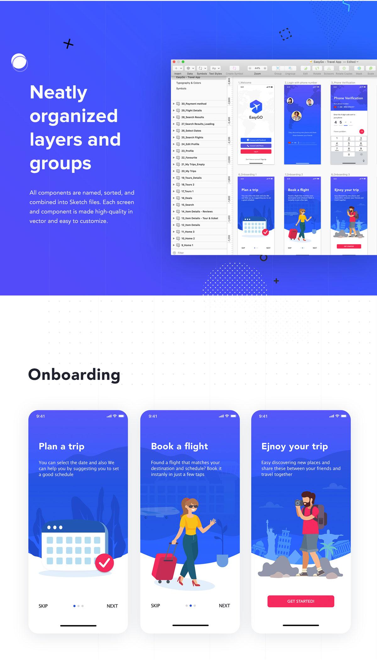 旅行票务酒店预订APP应用程序UI界面设计套件 EasyGo – Travel App UI Kit插图(1)