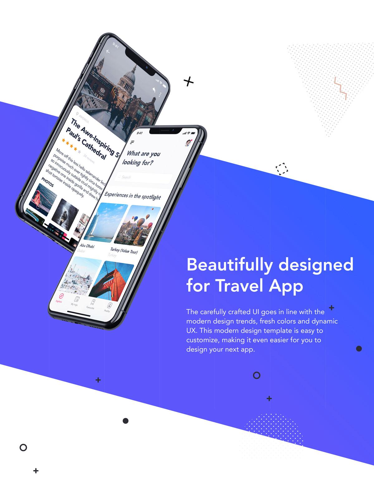 旅行票务酒店预订APP应用程序UI界面设计套件 EasyGo – Travel App UI Kit插图(2)