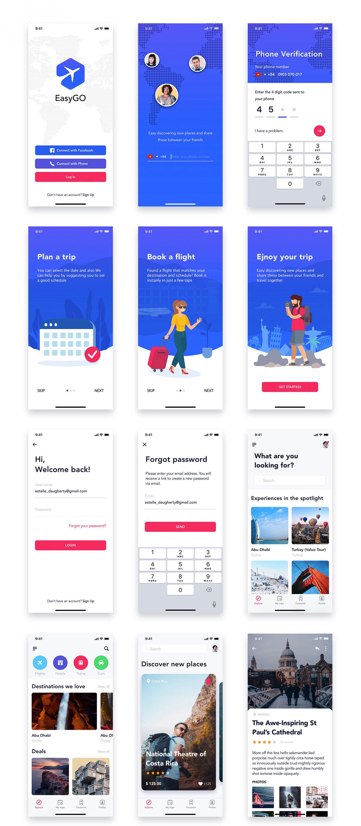 旅行票务酒店预订APP应用程序UI界面设计套件 EasyGo – Travel App UI Kit插图(3)