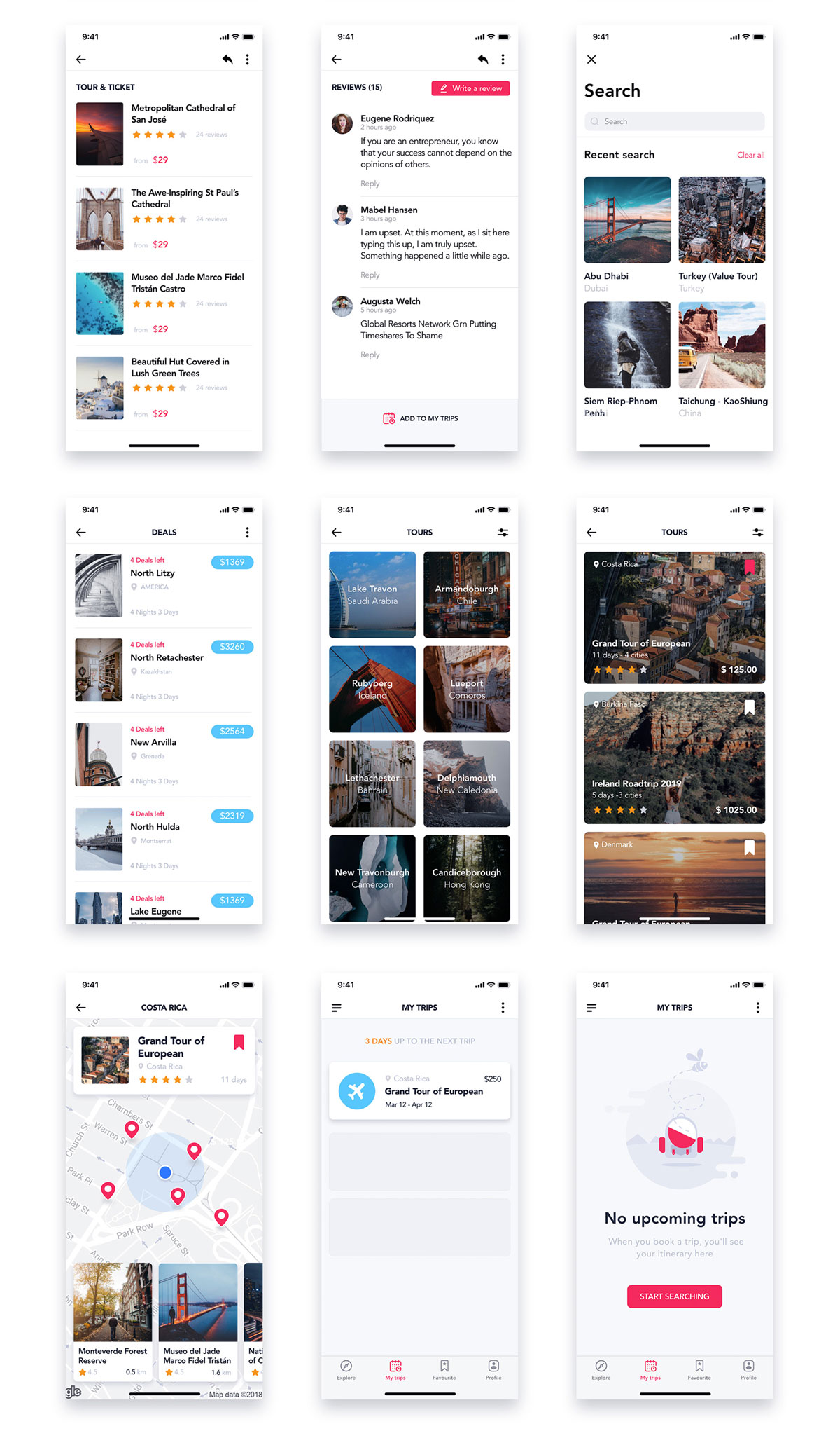 旅行票务酒店预订APP应用程序UI界面设计套件 EasyGo – Travel App UI Kit插图(4)
