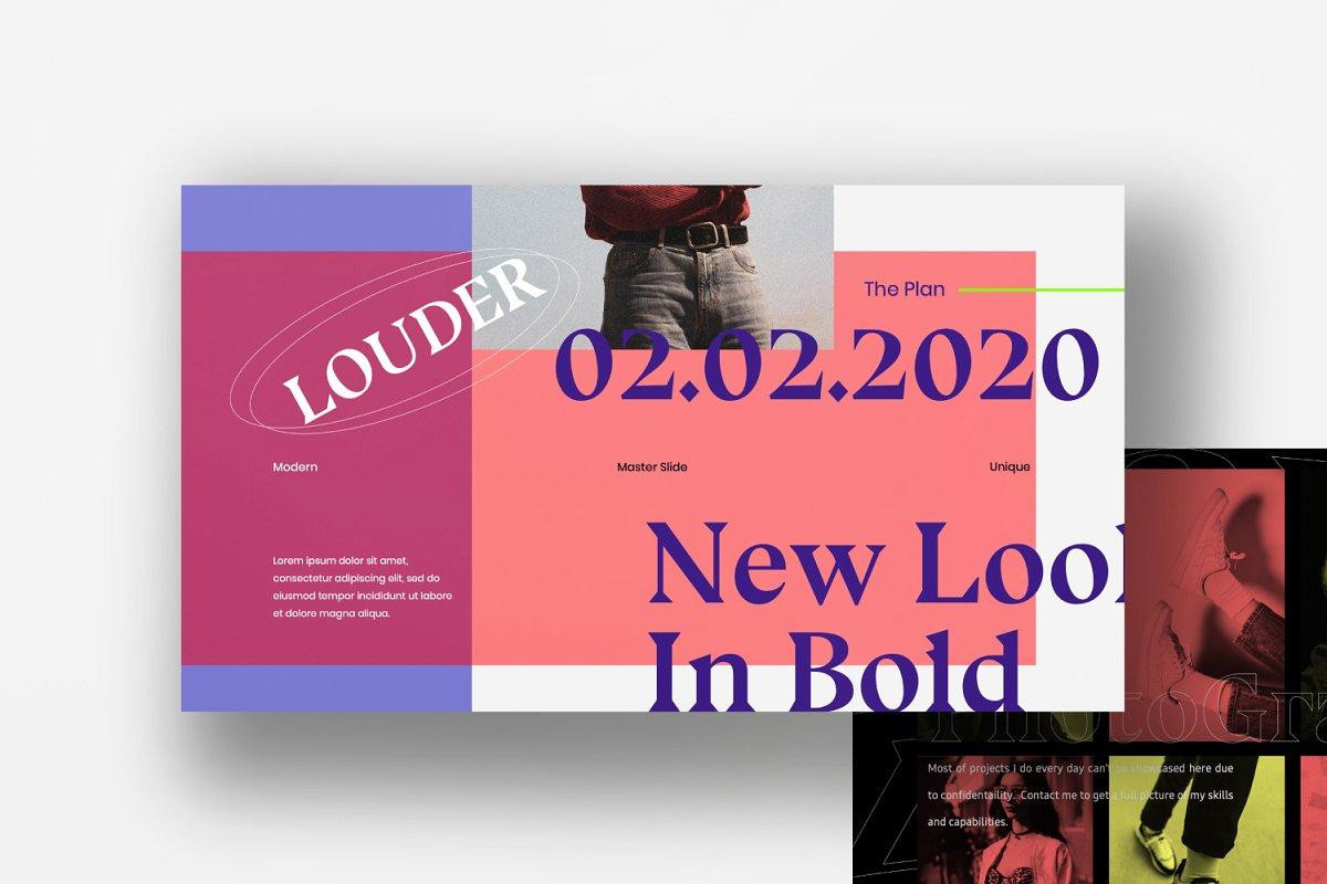现代潮流配色演示幻灯片设计模板 Louder – Urban Powerpoint插图(2)