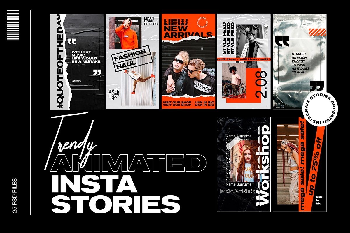时尚新潮品牌故事Instagram推广社交素材设计套件 Trendy Animated Instagram Stories插图