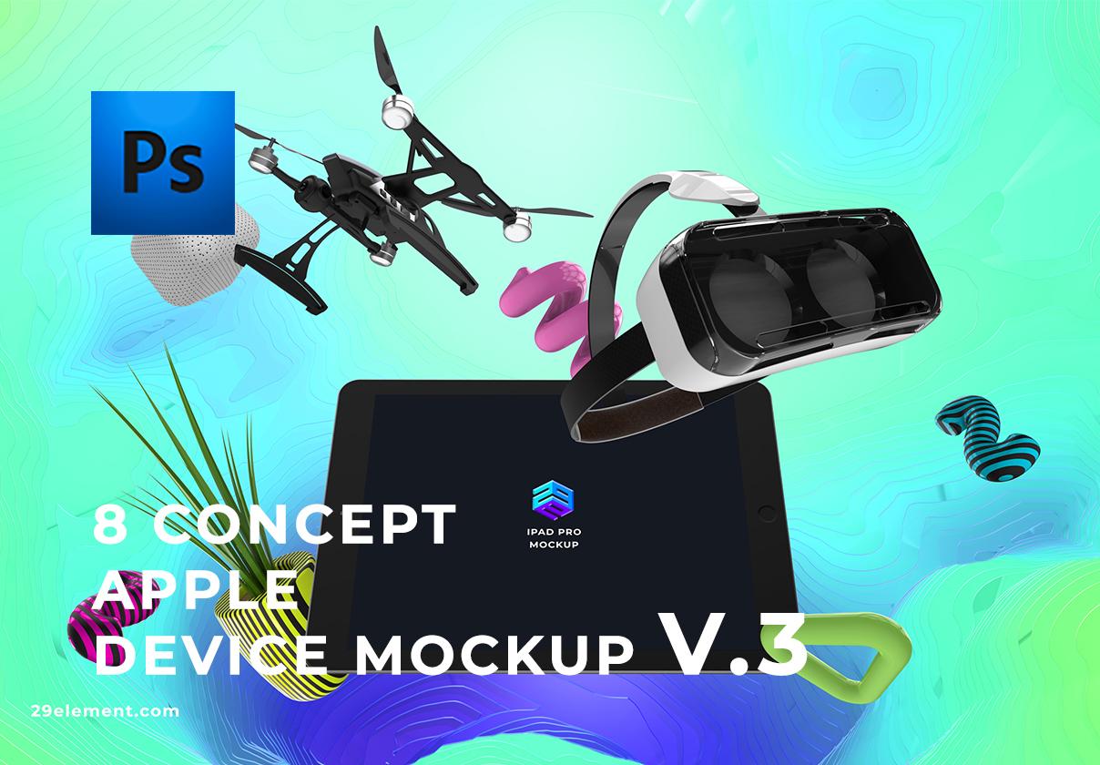8个应用程序设计预览苹果Apple设备PSD样机模板 8 Concept Apple Devices v.3插图