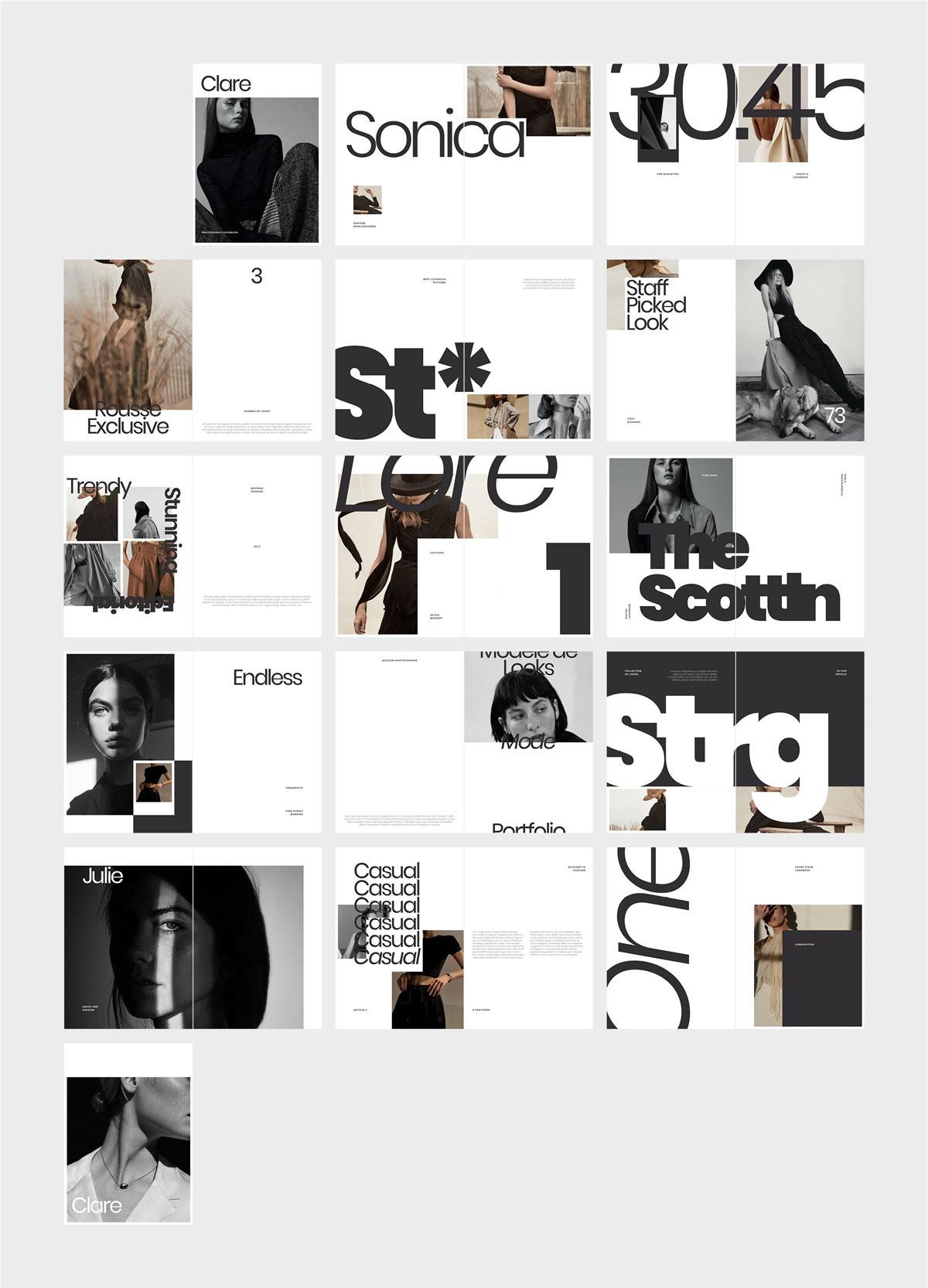 极简主义女性服装摄影作品集宣传画册设计INDD模板 CLARE Photography Lookbook插图(6)
