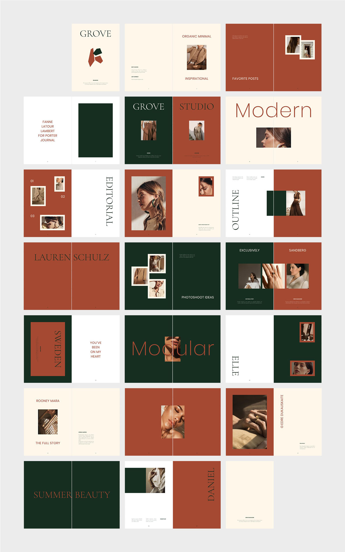 国际大牌服装设计摄影作品集杂志宣传画册目录INDD模板 GROVE Editorial Lookbook Magazine插图(6)