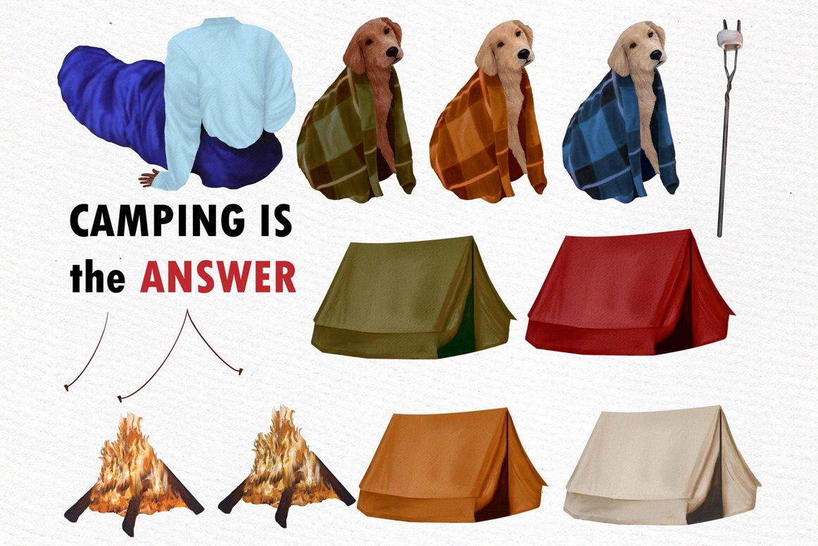 高质量情侣人物手绘水彩剪贴画设计素材 Camping clipart People Clipart插图(1)