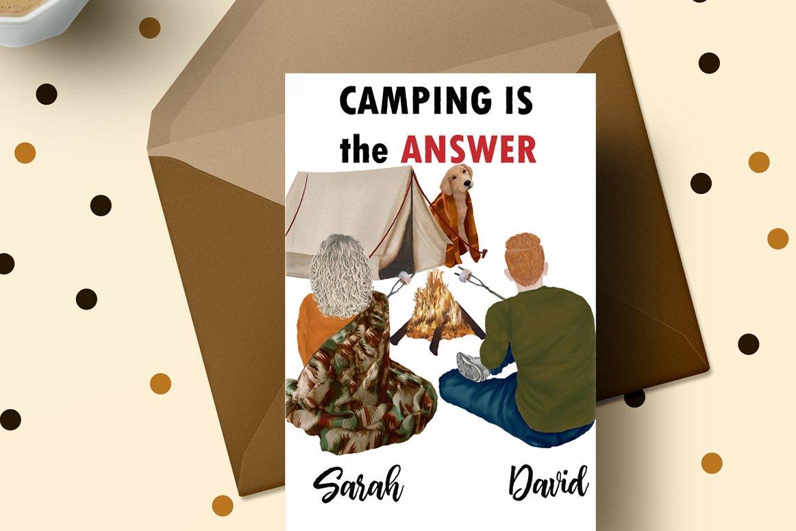 高质量情侣人物手绘水彩剪贴画设计素材 Camping clipart People Clipart插图(4)