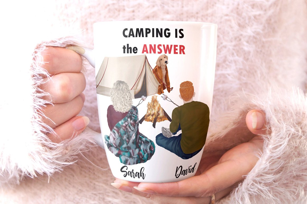 高质量情侣人物手绘水彩剪贴画设计素材 Camping clipart People Clipart插图(7)