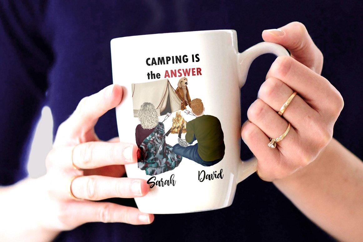 高质量情侣人物手绘水彩剪贴画设计素材 Camping clipart People Clipart插图(6)