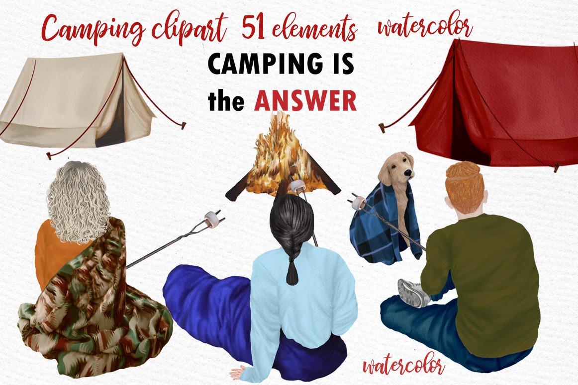 高质量情侣人物手绘水彩剪贴画设计素材 Camping clipart People Clipart插图