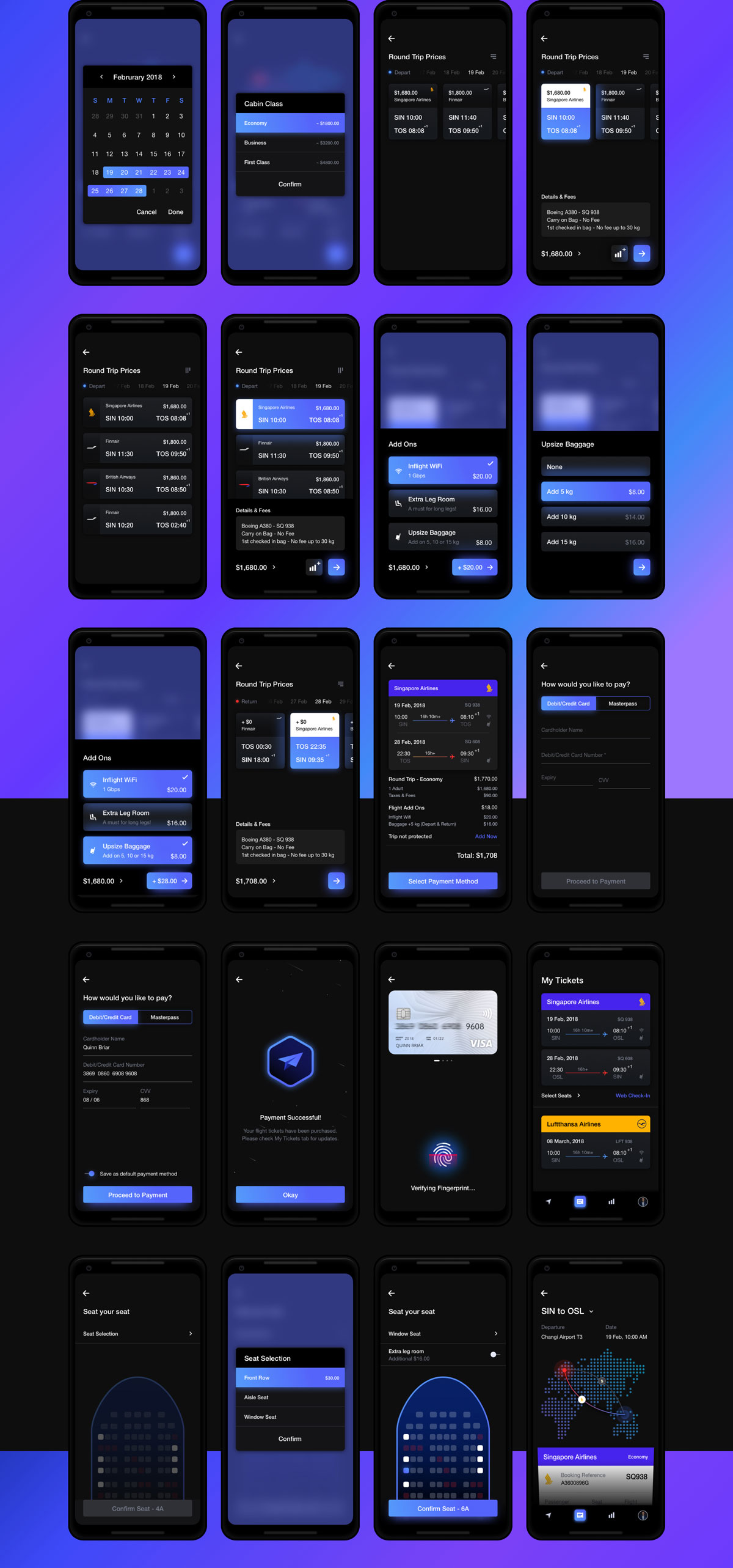 航班机票预订APP应用程序UI界面设计套件 Cosmos UI Kit插图(2)